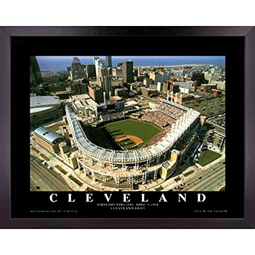 Cleveland Indians Baseball Stadium Poster Wall Art Decor Framed Print | 23 x 29 | First MLB Ball Park Game at Jacobs Field | Aerial Posters & Pictures | Gifts for Guys & Girls College Bedroom Walls