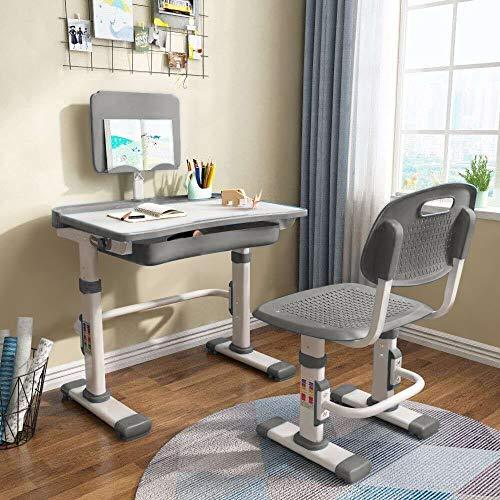 Cantonape - Juego de escritorio y silla para niños, altura ajustable, escritorio de estudio escolar con inclinación, soporte de...