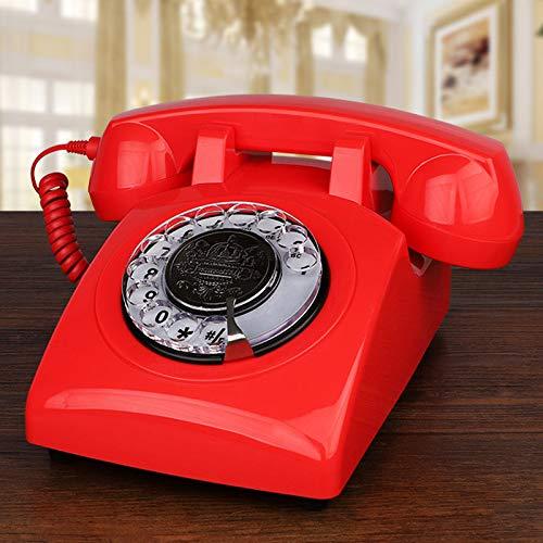 ZHPBHD Teléfono Teléfonos fijos Negros con Cable para el hogar Antiguo Dial Rotary Teléfono Teléfono de la Moda Antigua clásico para la decoración Regalo de la Novedad (Color : Red Telephone)