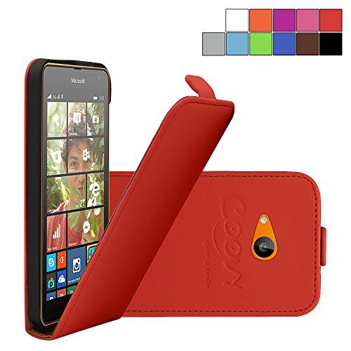 COOVY® Cover für Nokia Lumia 630/635 Slim Flip Hülle Tasche Etui inklusive gratis Bildschirmschutzfolie | Farbe rot