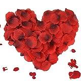 ASANMU 3000 Piezas Pétalos de Rosa, Petalos de Rosa Rojos Artificiales Pétalos de Rosa para Bodas Decoración, Fiestas, día de San Valentín y Ambiente Romántico, Proponer, Fores de Boda, Confeti