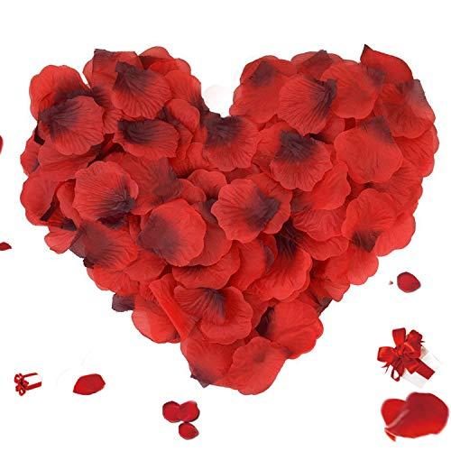 ASANMU 3000 Piezas Pétalos de Rosa, Petalos de Rosa Rojos Artificiales Pétalos de Rosa para día de San Valentín Decoración/Bodas Decoración/Fiestas/Ambiente Romántico/Proponer/Fores de Boda/Confeti