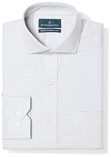 Amazon Brand - Buttoned Down Men's Tailored Fit Cutaway-Collar Pattern Non-Iron Dress Shirt, Grey Houndstooth, 15.5