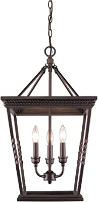 Golden Lighting 4214-3P EB Davenport Foyer - Caged, Etruscan Bronze