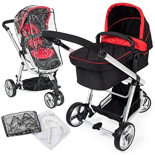TecTake 3 in 1 Kinderwagen Kombikinderwagen Buggy Babyjogger Reisebuggy Sportwagen Kids -diverse Farben- (Rot/Schwarz)