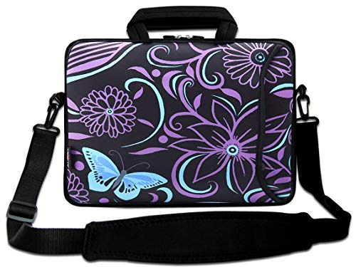 AUPET 16 16.5 17-17.3-Inch Water Resistant Neoprene Sleeve Notebook Neoprene Messenger Case Tote Bag with Outside Handle and Adjustable Shoulder Strap & Extra Pocket(Purple Flower)