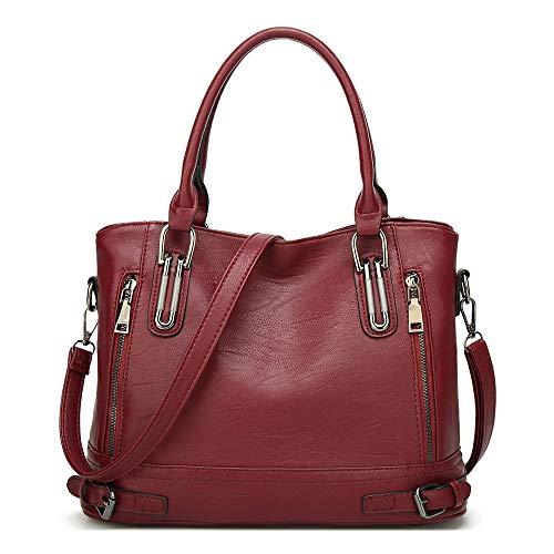 Damen Handtasche Leder Henkeltasche Top Griff Tasche Vintage Weiches Umhängetasche Schultertasche für Frauen - Burgund Rot