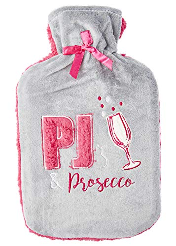 Wärmflasche mit Vliesbezug Wärmflaschenbezug Flauschig Fashy 2 Liter Bettflasche Prosecco Gin Einhorn für Frau und Mädchen (Prosecco)
