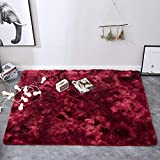MSM Doux Confort Chambre Tapis,Velours Shaggy Tapis Décor Homeh Moelleux Pile Haute Tapis pour Sofa Nursery Bed and Living Room Vin Rouge 95x95cm(37x37inch)