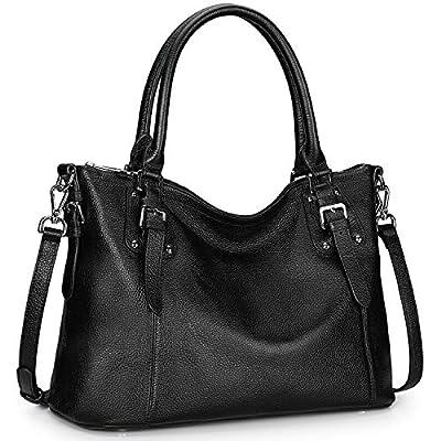S-ZONE Women's Vintage Genuine Leather Tote Large Shoulder Bag Upgraded Version with Outside Pocket