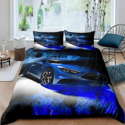 Juego de ropa de cama de coche de carreras, funda de edredón de coche deportivo de velocidad para niños, adolescentes, dormitorio adulto, funda de edredón azul con cierre de cremallera