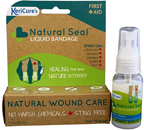 KeriCure's Natural Seal Invisible Liquid Bandage, 2 Pack, Soothe, Seal and Protect Small cuts, scrapes, rashes and More - NO Harsh Chemicals - Sting Free - Moisturizing Spray on Bandage