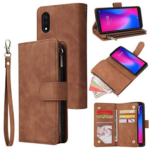 LBYZCASE Phone Case for ZTE Blade A3 2020,ZTE Avid 579 Wallet Case,Folio Flip Leather Cover[Zipper Pocket][Wrist Strap][Kickstand ] for ZTE Avid 579/Blade A3 2020 (Brown)