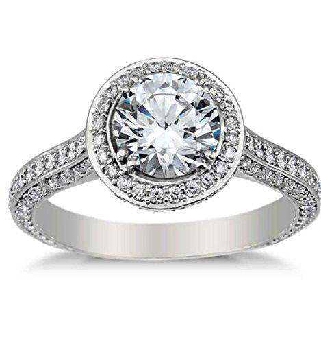 Gowe Luxuriöser Halo 1 Karat runder Moissanit-Ring 14 Karat Weißgold Solitär künstlicher Diamant