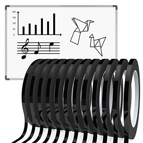HULISEN 12 Pcs 5mm Width Black Whiteboard Gridding Tape, 3/16 inch Grid Marking Tapes Self Adhesive Chart Artist Tape
