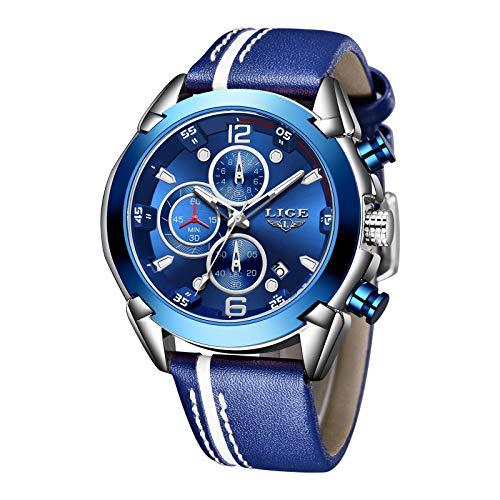 LIGE Reloj para Hombre Deporte Correa de Cuero Resistente al Agua Crono Correa de Cuero analógica Acero Inoxidable Cuarzo Moda Ocio Reloj Hombre