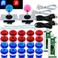 SJ@JX Arcade 2 Player Game Controller Stick DIY Kit LED Buttons with Logo MX Microswitch 8 Way Joystick USB Encoder Cable forPC MAME Raspberry Pi Red Blue
