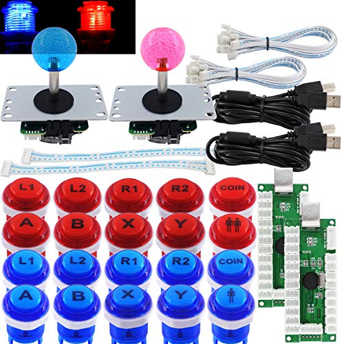 SJJX Arcade 2 Player Game Controller Stick DIY Kit LED Buttons with Logo MX Microswitch 8 Way Joystick USB Encoder Cable forPC MAME Raspberry Pi Red Blue