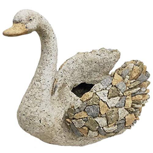 Macetero de jardín imitación piedra con diseño forma de Cisne, Figuras jardín Resina I Modelo: 0211873 I Macetero para escritorio, estantería, mesa de comedor I Macetero Exterior e Interior I