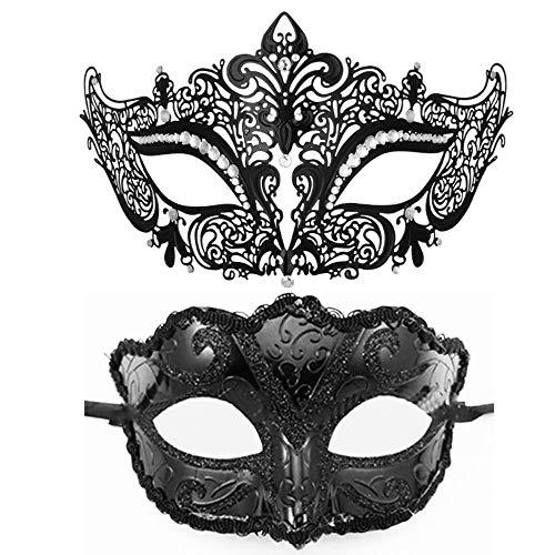 2 STÜCKE Masquerade Mask-1PC Metal Filigree Cat Black Mask, 1PC Plastic Fox Fashion Venezianische...