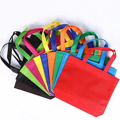 10Pcs Reusable Tote Bags Travel To-Go Kicthen Dining Food Containers Non-woven Fabric Gift Shopping Grocery Bags with Handles