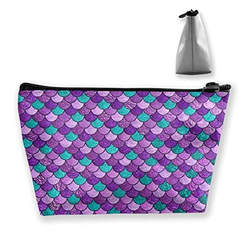 Cadeau idéal – Violet sirène écailles d'art multifonction sac de rangement trapézoïdal, petit sac de maquillage, trousse de toilette portable avec fermeture éclair