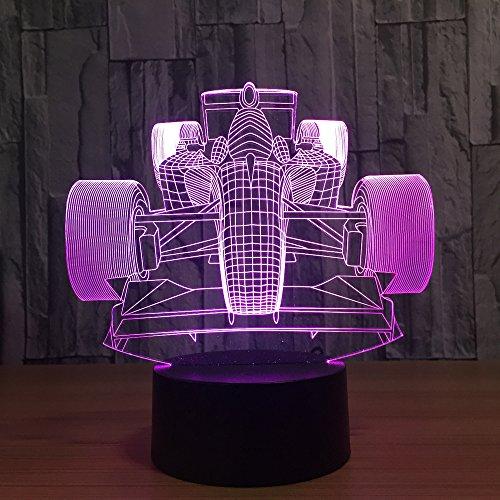 DFDLNL Rennwagen Acryl 3D Led Nachtlicht Led Luminaria Lampe USB Tisch Schreibtischlampe Freunde