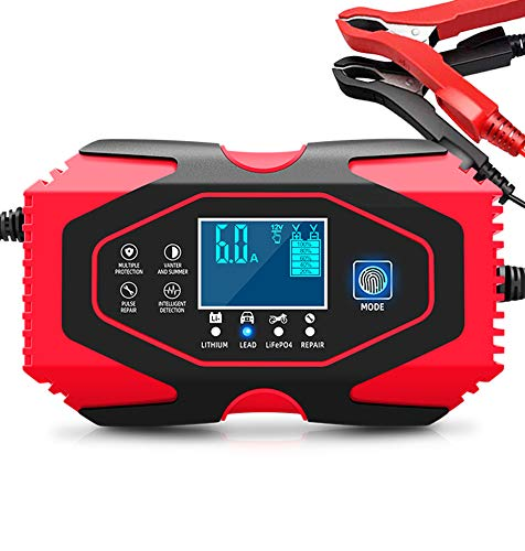 Almighty Car Battery Charger, 12V 6A/24V 3A Lead-acid and Lithium Batteries Charger, Smart Maintainer 7-Stages Trickle Chargers for Automotive, Motorcycle, Lawn Mower, Marine Boat, Golf Cart-More
