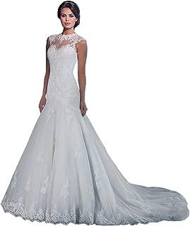 White Elegant Women's Slim Fit Lace Mermaid Tail Wedding Dresses