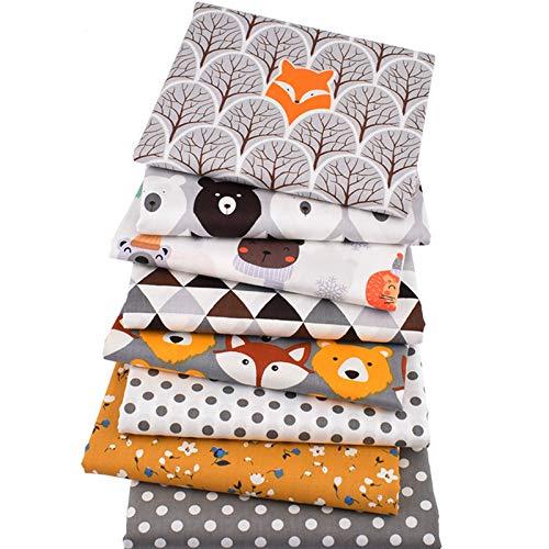 YPASDJH 8pcs / Lot, Serie de Animales de Selva, Tela de algodón de Sarga Impresa, Tela de Remiendo, Material de Acolchado de Costura de Bricolaje para bebé y niño para Patchwork DIY Costura Scrap