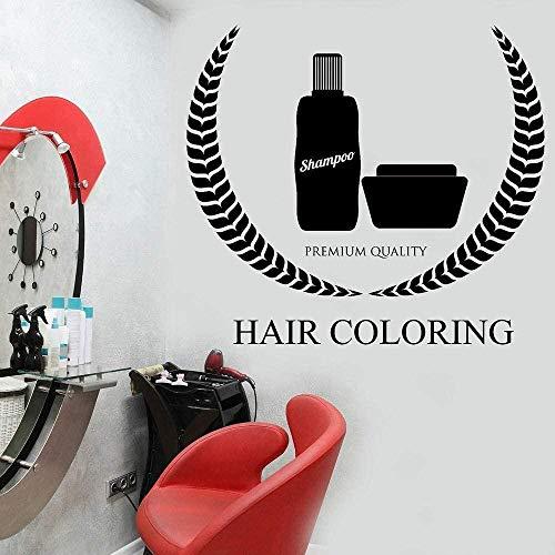 Muursticker slaapkamer decoratieve muurtattoos haarkleur vrouw beauty salon design kappers shampoo zwart 64 x 57 cm