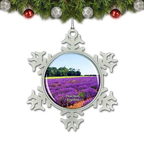 Umsufa Heacham Norfolk Lavender UK England Christmas Ornament Tree Decoration Crystal Metal Souvenir Gift