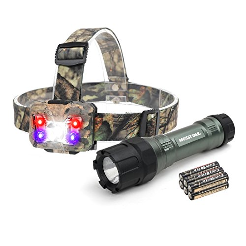 MOSSY OAK Tactical LED Flashlight Shock-proof 500 Lumens and Headlamp 300 Lumens, Battery Powered Helmet Light Combo Kit for Camping, Running, Hiking and Reading, 6 AAA Alkaline Batteries Included