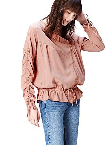 Marchio Amazon - find. Giacca con Volant e Manica Arricciata Donna, Rosa (Pink), 42, Label: S