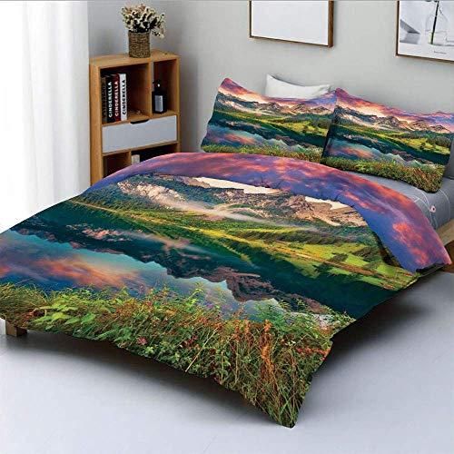 Juego de funda nórdica, Amanecer de verano en el lago Vorderer Gosausee en las montañas de los Alpes austríacos Juego de cama decorativo de 3 piezas con 2 fundas de almohada, verde coral y azul, el me