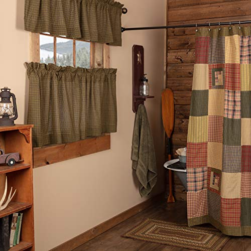 VHC Brands Tea Cabin Shower Curtain Patchwork 72x72 Log Cabin Country Rustic Lodge Design, Moss Green and Deep Red