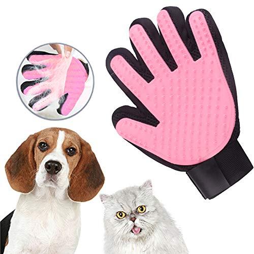 dingdang Mascota Perro Gato Limpieza Cepillo para deshuesar Baño Cepillo para depilación Guante (1 par de Manos Izquierda y Derecha) (Rosado)
