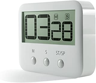 PINGKO Digital Kitchen Timer, Big Digits, Loud Alarm, Magnetic Backing, Stand, Countup & Countdown Timer Maximum to 99 Minutes 59 Seconds - White