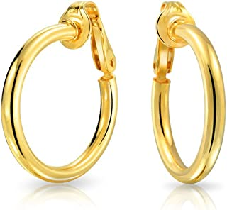 Simple Tube Hoop Clip On Earrings For Women Non Pierced Ears Rose Gold Plated 925 Sterling Silver 1 Inch
