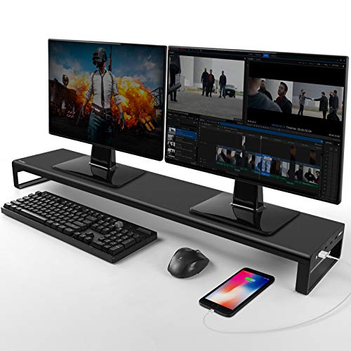 Vaydeer Soporte Monitor Dual con 8 Puertos concentradores USB 3.0, Soporte Monitor Mesa Que admite Transferencia de Datos para 2 monitores, Metal Elevador Monitor Que admite hasta 32 Pulgadas para PC