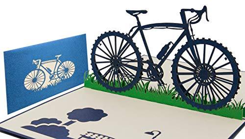 LIMAH® Pop Up Geburtstagskarte Fahrrad-Karte 3D Geschenkkarte Sport-Karte für Jungen Grußkarte Glückwunschkarte Rennrad-Karte für Sportler Kombinierbar mit einem Gutschein zum Geburtstag