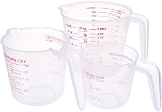 Saim Plastic Measuring Cups, Liquid Container Baking Measuring Tools with Scale and Spout with Ml Oz Set of 3 Piece, 250ml...