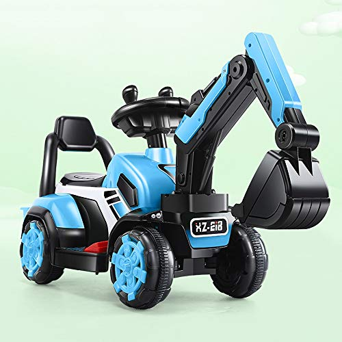 Lotee La Excavadora eléctrica for niños Bulldozer Puede Montar la máquina Excavadora eléctrica Boy Toy Car Ride On Yellow Digger Engineering Vehicle Scooter Toy con Modelo de música (Color : Azul)