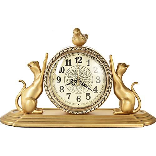 NOBGP Estilo Europeo Vintage Mantel Reloj Antiguo diseño no tictac Barrido de Segunda Mano Cuarzo Movimiento de la batería números operados Escritorio Silent Classic Decor Mesa Clock