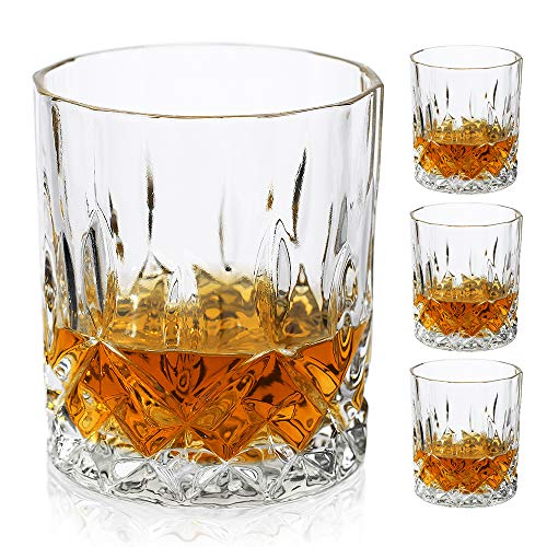 Bavel Old Fashioned Whiskey Glasses,11 OZ Scotch Glasses Set of 4,Premium Lead Free Cocktail Glass,Bourbon and Scotch,Style glasses for Glassware Lover (Set of 4)