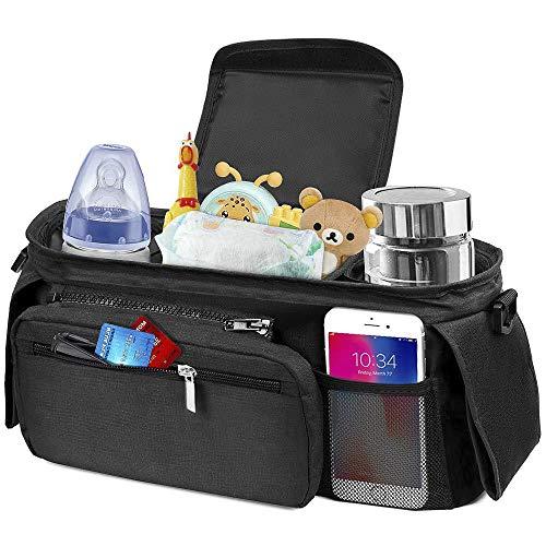 IWILCS Kinderwagen Organizer, Kinderwagentasche mit Isolierten Getränkehalter, Stroller Organizer mit Reißverschlusstasche und Geldbeutel (Schwarz)