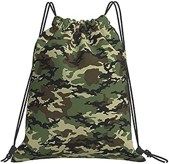 Drawstring Backpack Camouflage Blue Leaves Large Rucksack Cinch Water Resistant Sport Yoga Gym Bag for Boy Girl Kids  Camouflag 3