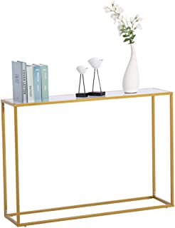 Binrrio Long Narrow Console Table Porch Table, Sofa Side Table Hall Desk Console Table for Small Place - Marble Surface & Iron Frame Suitable for Living Room, Bedroom, Corridor(White-Marble)