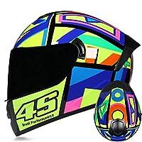 フルフェイスバイクモーターサイクルヘルメット、DOT認定スクータークラッシュヘルメットメンズレディース、デュアルレンズ(ティーミラー) B,S