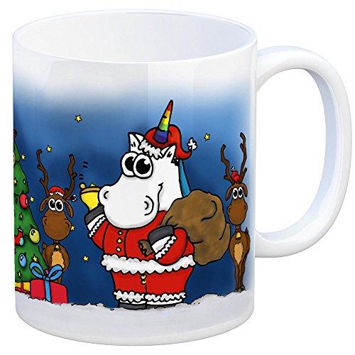 trendaffe - Honeycorns Kaffeebecher mit Einhorn Weihnachten Motiv Tasse Kaffeetasse Becher Mug Teetasse Büro Weihnachten Weihnachtsmann Weihnachtsbaum Rentier Nikolaus Wichteln